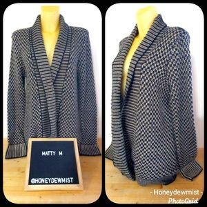 MATTY M Black and Tan Thick Knit Open Cardigan